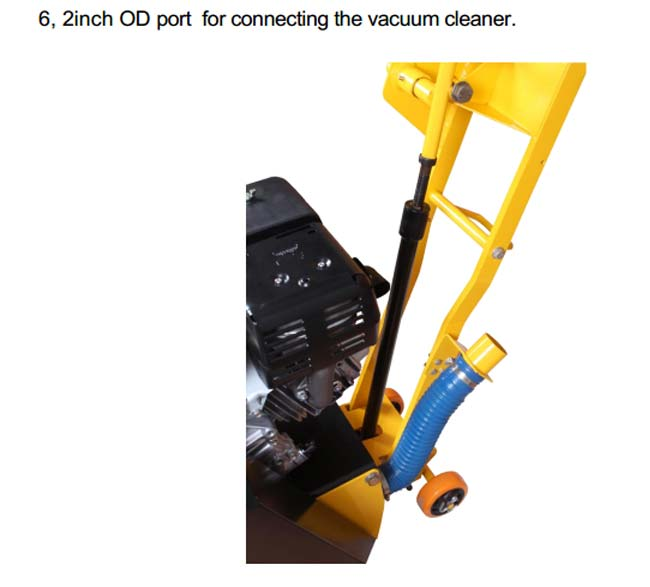 Industrial Concrete Scarifier Machine With Vacuum 9HP Honda Engine OPtional
