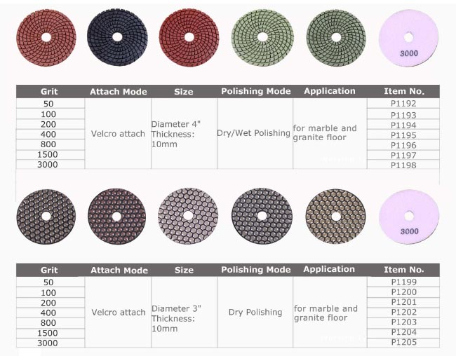 Wnite Marble Floor Polishing Pads For Floor Preparation Machine 80mm Size