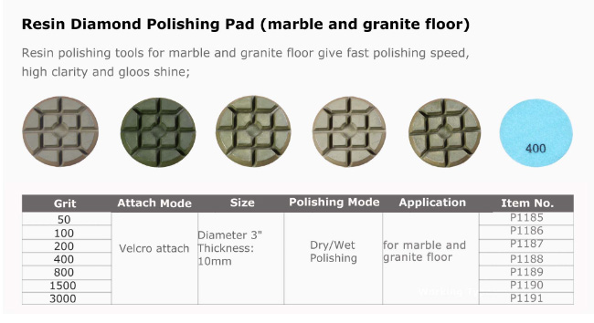 Resin Bond Stone Floor Polishing Pads Floor Polisher Accessories 12 Mm Segment Height