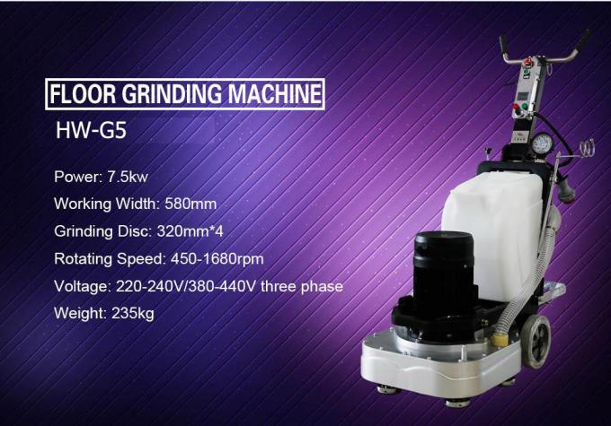 Four Grinding Plate Marble Floor Grinding Machine With Water Tank And Dust Port